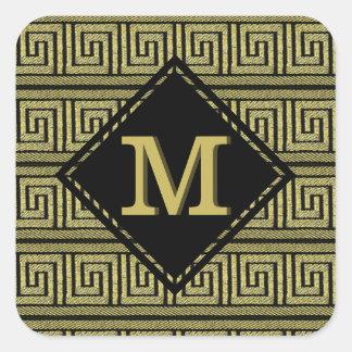 Griechischer klassischer Schlüsselentwurf im Gold Quadratischer Aufkleber