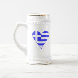 Griechisches Flaggen-Herz flippig Bierkrug