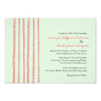 Griffonnages d'amusement de corail et de menthe carton d'invitation  12,7 cm x 17,78 cm