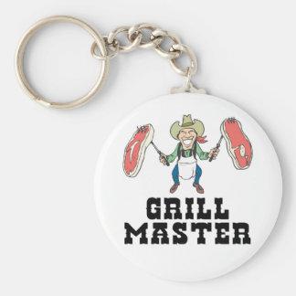 Grill-Vorlagencowboy Standard Runder Schlüsselanhänger
