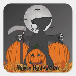 Grimmige Sensenmann-Halloween-Aufkleber Quadratischer Aufkleber