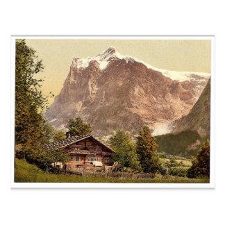 Grindelwald, Chalet und Berg Wetterhorn, Bernese Postkarte