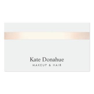 Gris élégant moderne rayé d'or rose subtil carte de visite standard