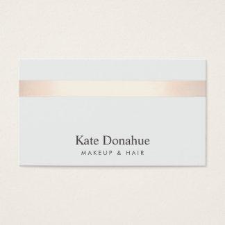 Gris élégant moderne rayé d'or rose subtil cartes de visite
