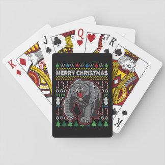 Grizzlybär-Tier-frohe Weihnacht-hässliche Spielkarten