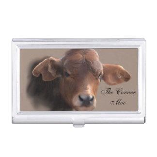 Grobes Brown-Kuh-Porträt Visitenkarten Dose