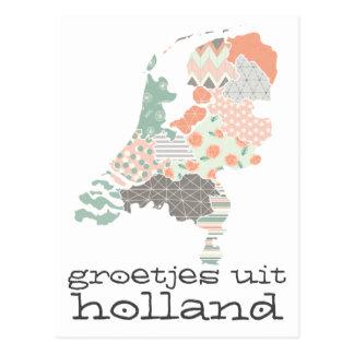 Groetjes Uit Holland Provinz-Karten-Patchwork-Art Postkarte