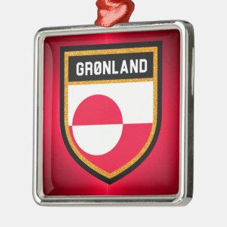 Grönland-Flagge Quadratisches Silberfarbenes Ornament