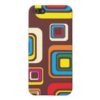 Groovy 70er Fliesen-Muster-Quadrate auf Brown iPhone 5 Cover