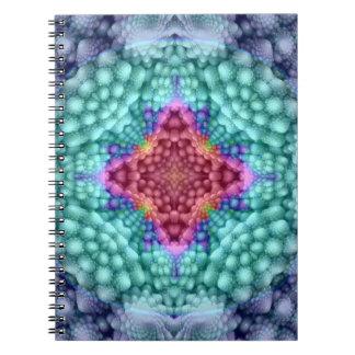 Groovy blaues Vintages Kaleidoskop-Notizbuch Notizblock