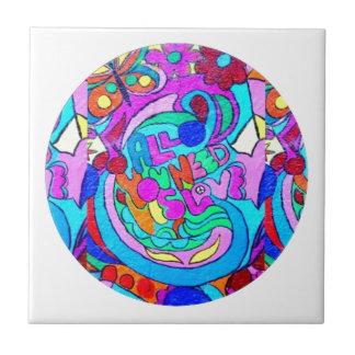 groovy Liebekreis des Hippie Kleine Quadratische Fliese