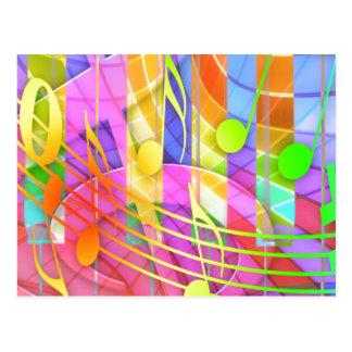 Groovy musikalisches abstraktes postkarten