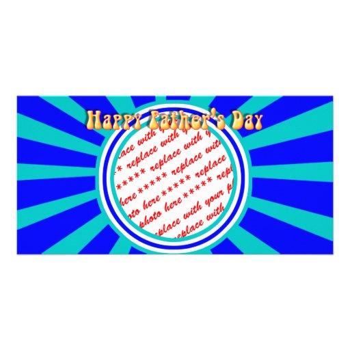 Groovy Retro der Vatertags-blauer Foto-Rahmen Bildkarten