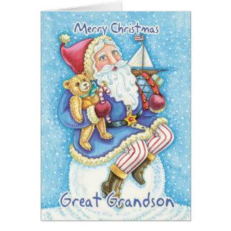 Groß - Enkel Weihnachtskarte mit niedlicher Sankt Karte
