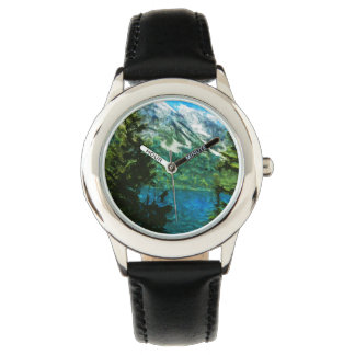Großartige Teton Berge Wyomings abstrakt Uhr