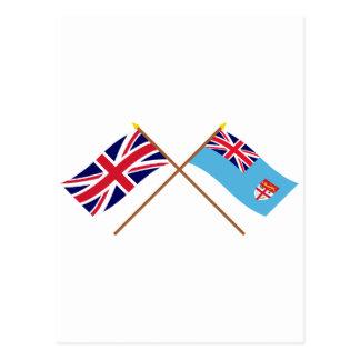 Großbritannien und Fidschi gekreuzte Flaggen Postkarte