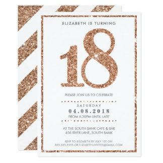 GROSSE ALTERS-ZAHL LADEN Rosen-GoldGlitter des 12,7 X 17,8 Cm Einladungskarte
