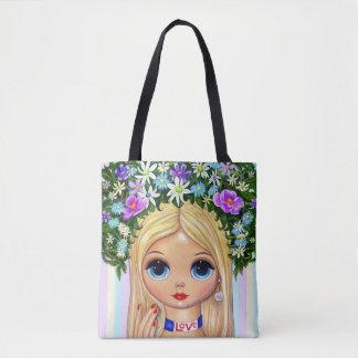 Große Augen-Liebe-Mädchen-Haar-Blumen-Fingernägel Tasche