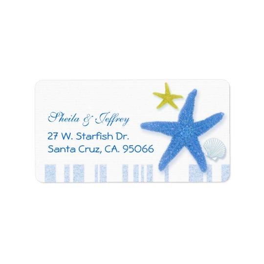 Große blaue Starfish + Wedding Streifen Adressaufkleber