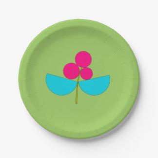 Große blaue und rosa Blume auf Grün Pappteller 17,8 Cm