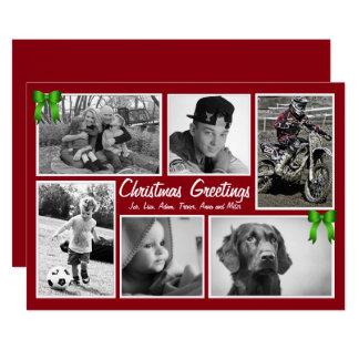 Große Familie Multi-Foto flache Weihnachtskarten Karte