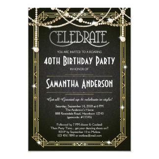 Große Gatsby Geburtstags-Einladung/Kunst-Deko 12,7 X 17,8 Cm Einladungskarte