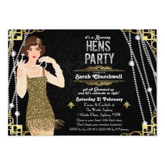 Große Gatsby Prallplatten-Mädchen-Henne-Party 12,7 X 17,8 Cm Einladungskarte