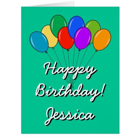GROSSE Geburtstagsextrakarte mit farbigen Ballonen Riesige Grußkarte