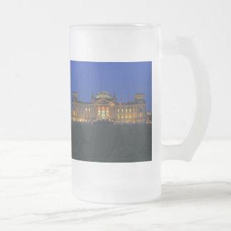 Große Glastasse Berlin Reichstag am Abend Mattglas Bierglas