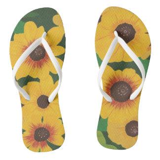 Große mutige gemalte gelbe Sonnenblume-grüne Flip Flops