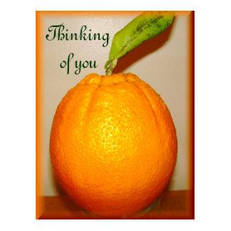 Große Orange, denkend an you_ Postkarte