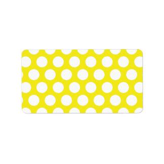 Große Punkte auf gelbem Entwurf Adress Aufkleber