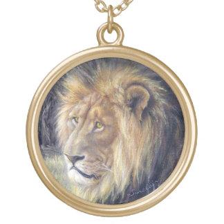 Große runde Goldtone Löwe-Halskette Halskette Mit Rundem Anhänger