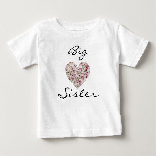 Große Schwester-Baby-Geldstrafe-Jersey-mit BlumenT Baby T-shirt
