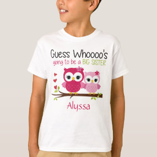 Große Schwester-Eule personalisiert T-Shirt