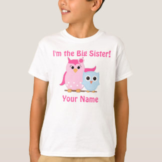Große Schwester-Eulen-personalisierter T - Shirt