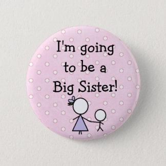 """""""Große Schwester-"""" Knopf, rosa mit weißen Runder Button 5,7 Cm"""
