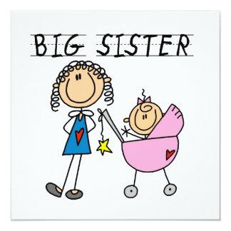 Große Schwester mit kleine Schwester-Geschenken Quadratische 13,3 Cm Einladungskarte