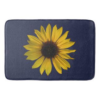 Große Single-Sonnenblume auf Blau Badematte