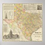 Große Skala-Landkreis-und Eisenbahn-Karte von Texa Poster