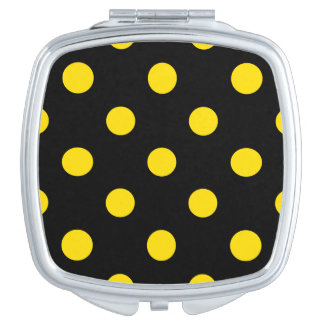 Große Tupfen - goldenes Gelb auf Schwarzem Taschenspiegel