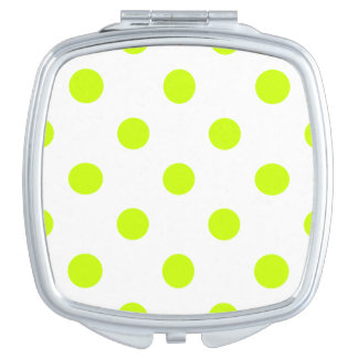 Große Tupfen - Leuchtstoffgelb auf Weiß Taschenspiegel