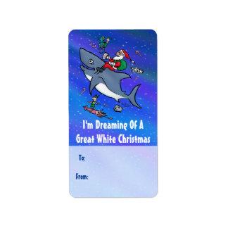 Große Weiß-Weihnachtsgeschenk-Aufkleber mit Sankt Adressaufkleber
