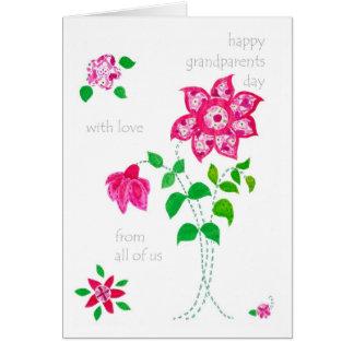 Großeltern-Tageskarte - rosa Blumen Karte