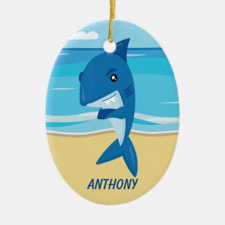 Großer Haifisch stehend auf der Strand-Verzierung Keramik Ornament
