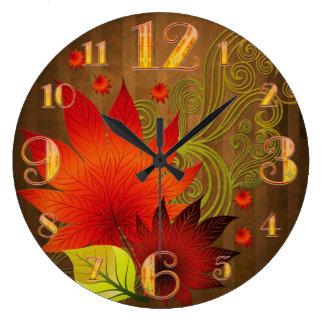 Großer Herbst verlässt Wand-Uhr Große Wanduhr