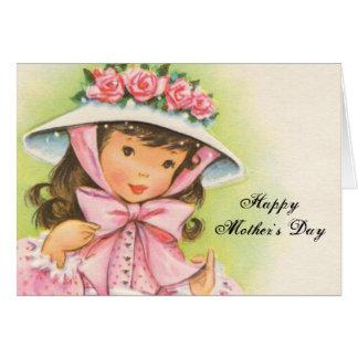 Großer Hut mit Rosen auf einem kleinen Mädchen Karte
