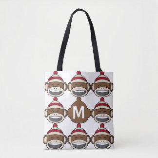 Großer Lächeln-Socken-Affe Emoji mit Monogramm Tasche