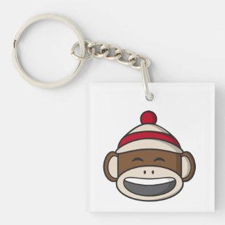 Großer Lächeln-Socken-Affe Emoji Schlüsselanhänger