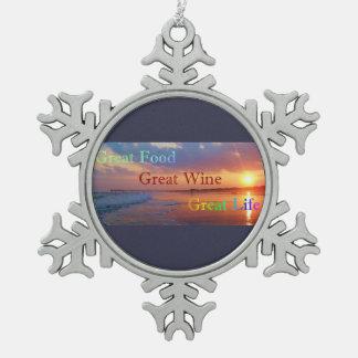 Großer Nahrungsmittelgroßer Wein-großes Leben Schneeflocken Zinn-Ornament